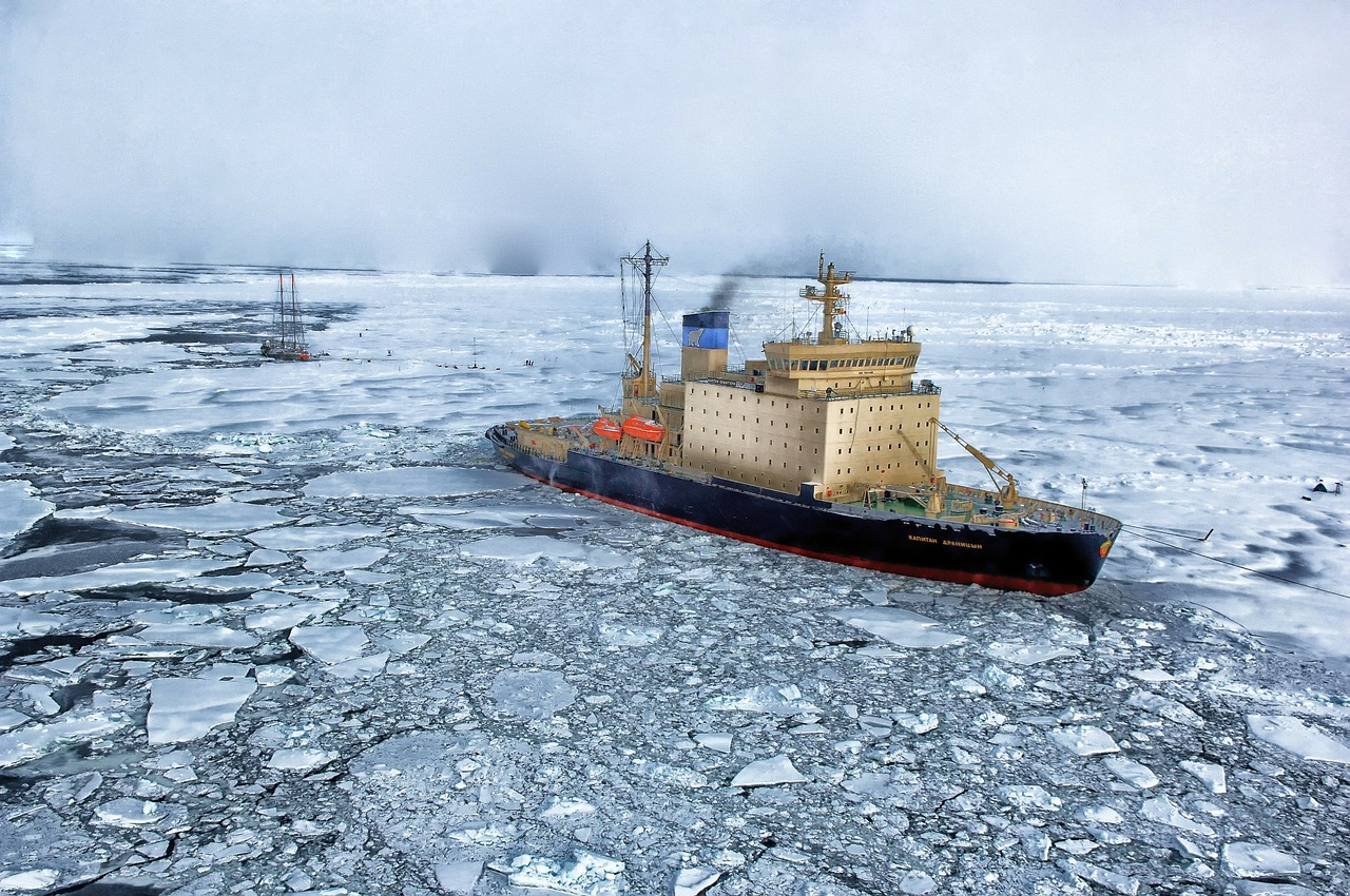 Ship in ice in the Arctic